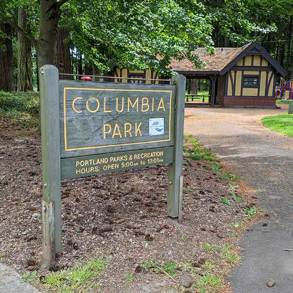 Sign at an entrance to Columbia Park